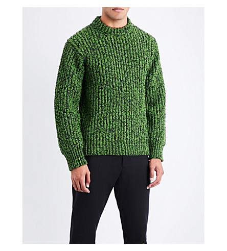 CALVIN KLEIN 205W39NYC Contrast wool-blend jumper (Green+black