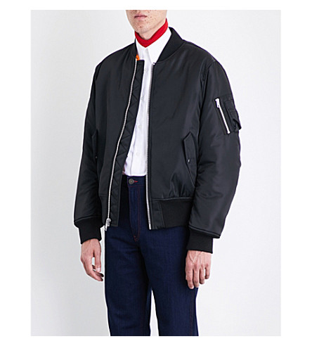 CALVIN KLEIN 205W39NYC Shearling-lined shell-twill bomber jacket (Black