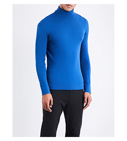 CALVIN KLEIN 205W39NYC Turtleneck cotton-knitted jumper (Cobalt