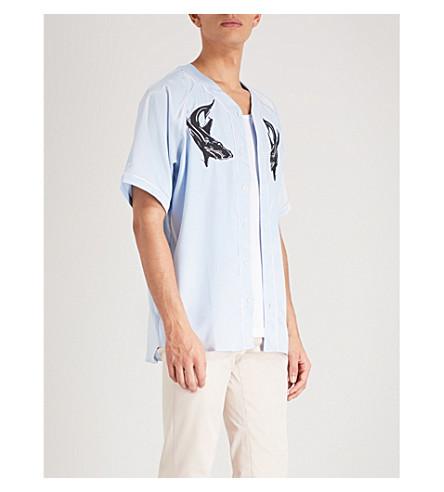 Burts 宽松合体缎面棒球衫 (蓝色
