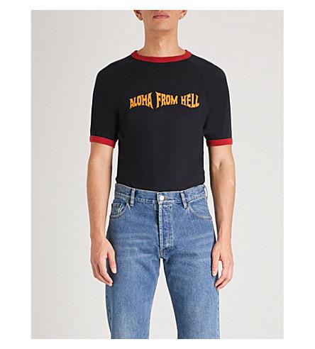 SSS WORLD CORP迈阿密平纹针织棉 T 恤 (黑