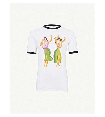 SSS WORLD CORP迈阿密平纹针织棉 T 恤 (白色