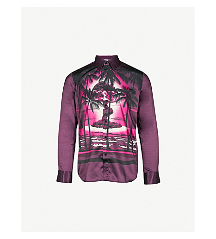 SSS WORLD CORP兰迪休闲版型缎布衬衫 (紫色