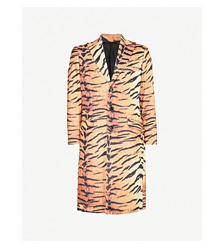 SSS WORLD CORP Shane tiger-print velvet coat (Orange