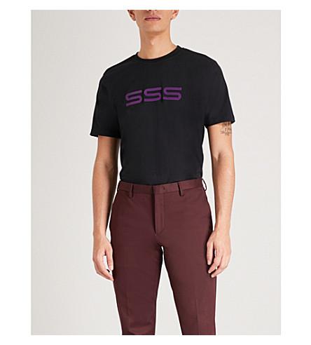 SSS WORLD CORP滑板平纹针织棉 T 恤 (黑色