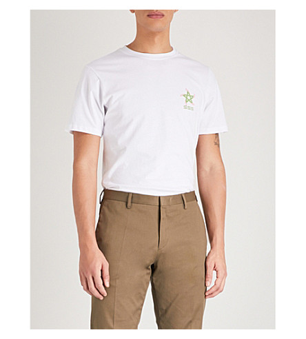 SSS WORLD CORP溜冰者五角星平纹针织棉 T 恤 (白色