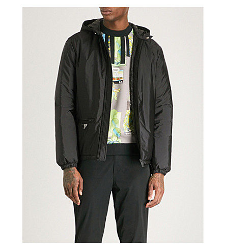 PRADA Hooded nylon jacket (Black