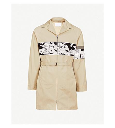 PRADA Graphic-print cotton trench coat (Black