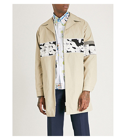 PRADA Graphic-print cotton trench coat (Black