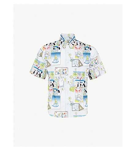 PRADA Cartoon bunny-print slim-fit cotton shirt (White