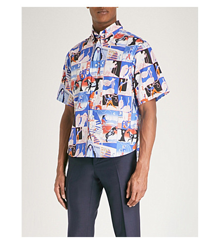 PRADA Story-print regular-fit cotton shirt (Blue