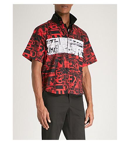 PRADA Graphic-print slim-fit cotton shirt (Red+black