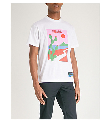 PRADA Sun-print cotton-jersey T-shirt (White
