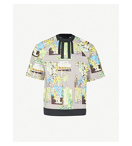 PRADA Graphic-print cotton-jersey T-shirt (Grey