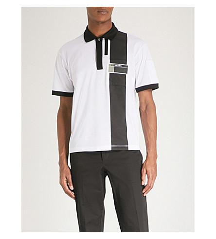 PRADA Shell-panelled cotton-piqué polo shirt (White+black