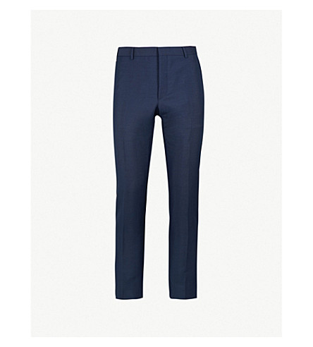 PRADA Regular-fit tapered mohair and wool blend trousers (Navy