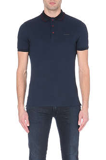 BURBERRY LONDON Striped-collar cotton-piqué polo shirt