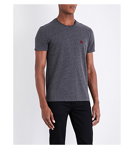 BURBERRY Logo-embroidered cotton-jersey T-shirt (Dark+grey+melange