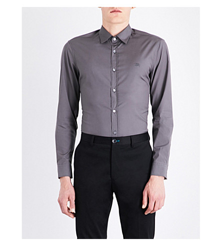 BURBERRY Cambridge logo-embroidered regular-fit stretch-cotton shirt (Stone+grey