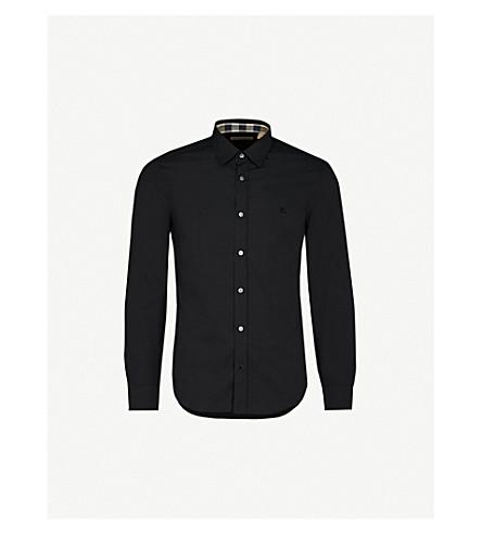 BURBERRY 剑桥检查详细常规版型弹力棉衬衫 (黑色