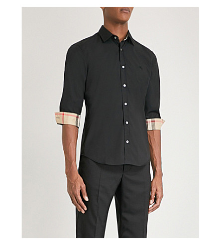 BURBERRY Cambridge checked-detail regular-fit stretch-cotton shirt (Black