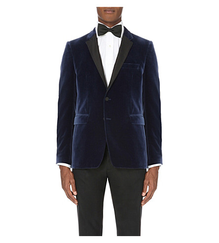 BURBERRY Single-breasted velvet jacket (Blue