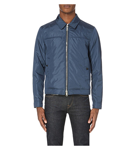BURBERRY Leather-trimmed nylon jacket (Blue