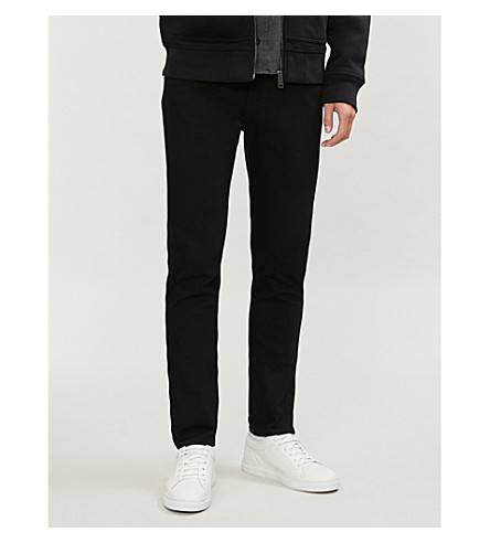 BURBERRY Slim-fit tapered stretch-denim jeans (Black