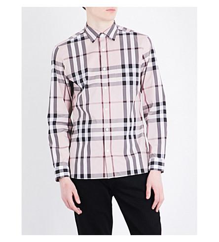 BURBERRY Nelson check-print regular-fit cotton-blend shirt (Chalk+pink