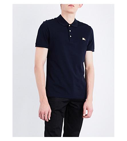 BURBERRY Metal logo- appliquéd cotton-piqué polo shirt (Navy
