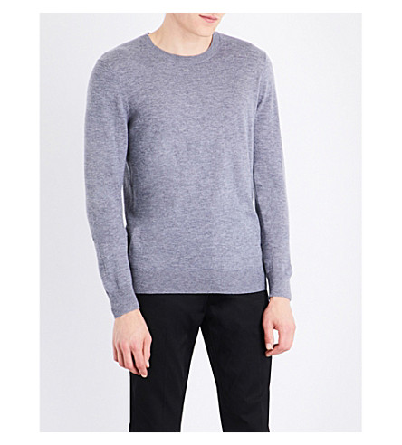 BURBERRY Checked-shoulders cashmere sweater (Pale+grey+melange
