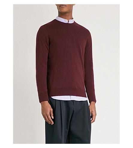 BURBERRY Kenneth crewneck cashmere jumper (Deep+claret