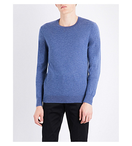 BURBERRY Checked-shoulders cashmere jumper (Dusty+blue