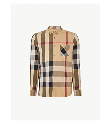 BURBERRY Thornaby checked slim-fit cotton-blend shirt (Camel