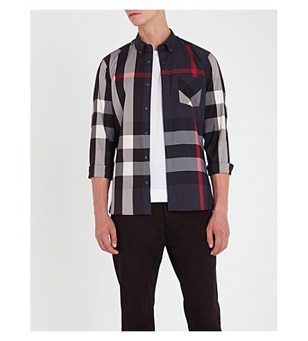 BURBERRY Thornaby regular-fit cotton-blend shirt (Navy