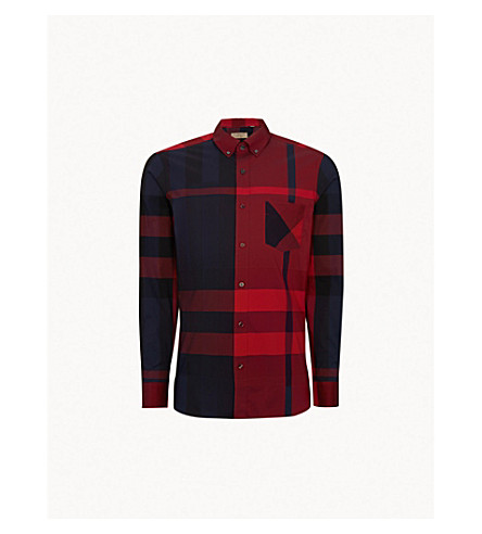 BURBERRY Thornaby check-print regular-fit cotton-blend shirt (Bright+red