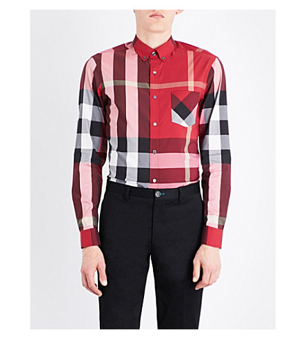 BURBERRY Thornaby check-print regular-fit cotton-blend shirt (Parade+red