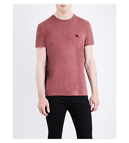BURBERRY Logo-embroidered cotton-jersey T-shirt (Russet+melange