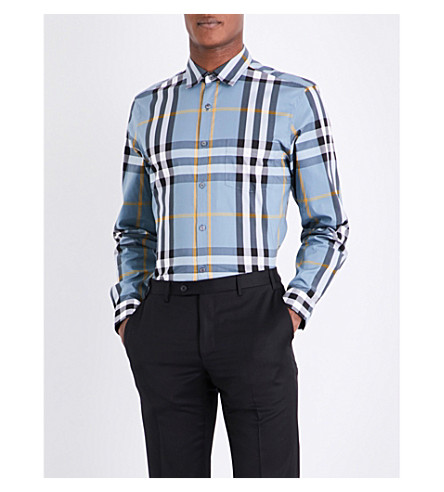 BURBERRY Nelson check stretch-cotton shirt (Mineral+blue