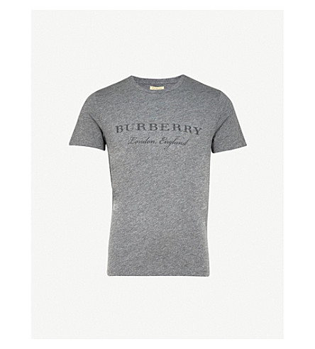 BURBERRY Printed logo jersey T-shirt (Mid+grey+melange