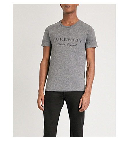 BURBERRY 印制徽标泽西 t恤衫 (中 + 灰 + 混杂