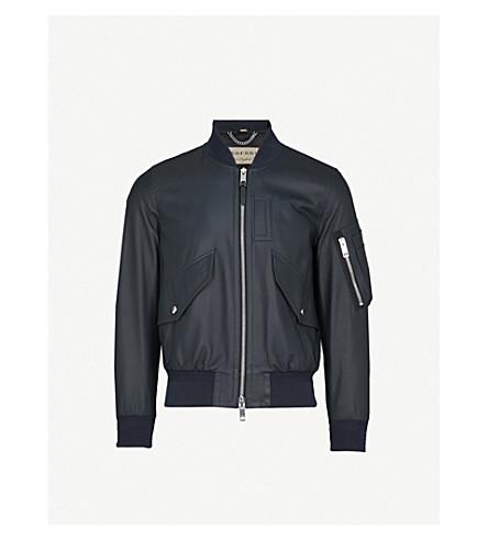 BURBERRY Archer leather bomber jacket (Navy