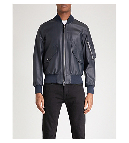BURBERRY Archer leather bomber jacket (Navy