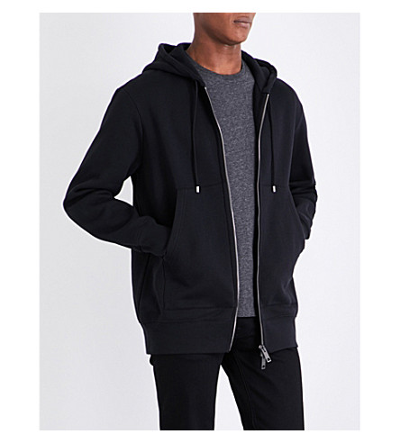 BURBERRY Logo-embroidered cotton-blend hoody (Black
