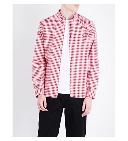 BURBERRY Stopford gingham-print regular-fit cotton shirt (Parade+red