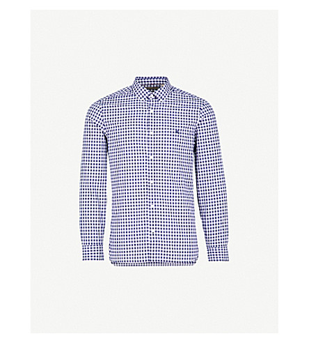 BURBERRY Embroidered logo slim-fit cotton-gingham shirt (Navy