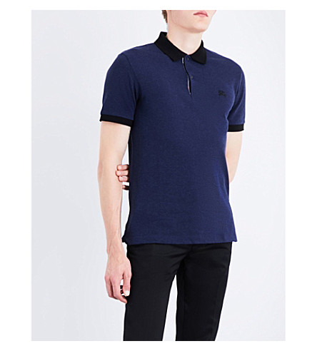 BURBERRY Logo-embroidered cotton-piqué polo shirt (Navy+melange