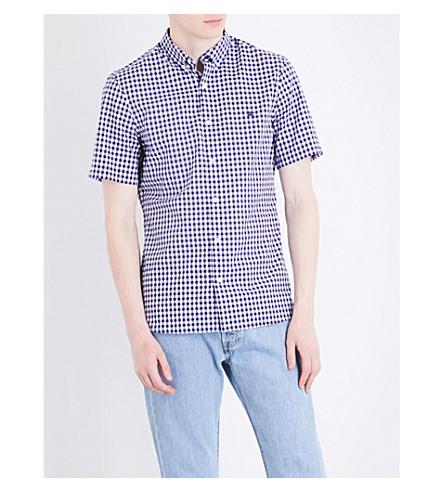BURBERRY Gingham-print regular-fit cotton shirt (Navy