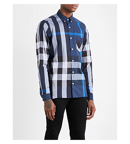 BURBERRY Large check regular-fit cotton-blend shirt (Canvas+blue