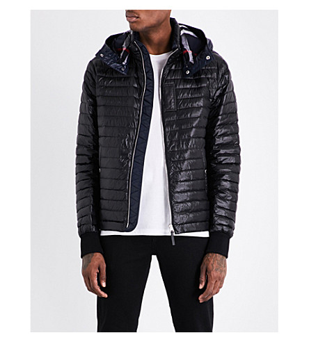 BURBERRY Down-filled quilted hooded shell jacket (Black
